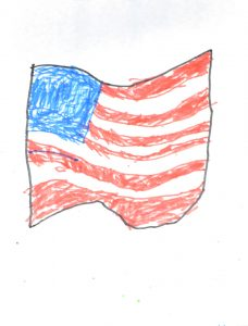 Daniel Moore, American Flag, Drawing