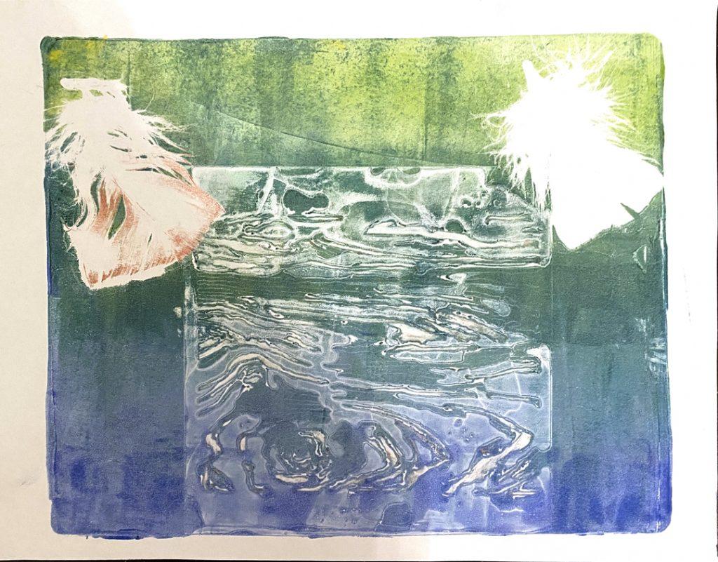 Green Gelli Print by Sam B., age 19
