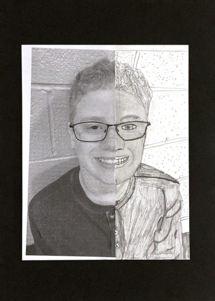 Self Portrait by Nick M., grade 6