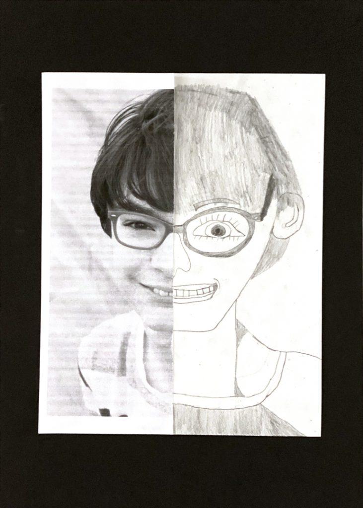 Self Portrait by Sam W., grade 8